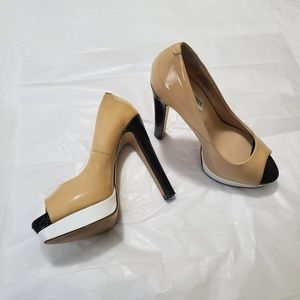 Steve Madden patent leather peep toes Beige